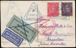 YOUGOSLAVIE 1° Vols  - Sieger 150, Cp, Cachet Triangulaire Bleu Zagreb 12/4/32 + 2 Cachets Rouge Zeppelin (150 - 150 B) - Yougoslavie