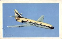 Artiste Cp Französisches Passagierflugzeug, Caravelle, Air France - Non Classés