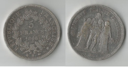 FRANCE 5 FRANCS 1848 BB ARGENT - Francia