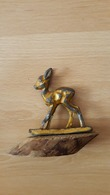 Bambi, Old Metal Figure On A Wooden Plinth - Figurillas
