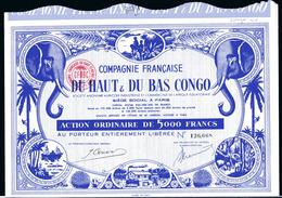Compagnie Francaise Du HAUT & Du BAS CONGO; Action Ordinaire De 5000 Francs - Africa