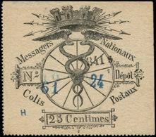FRANCE Colis Postaux Paris Pour Paris  N° Spink * - 1, Timbre Avec Numéro En Noir Et Bleu: 25c. Noir - Cote: 175 - Colis Postaux