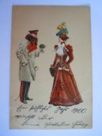 Illustration Homme Miltair (l'empereur ?) Donne Des Fleurs à Une Femme 1899 Arnau A/Elbe - Illustrateurs & Photographes