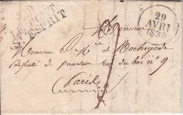 Marque Au Tampon Linéaire Trois Lignes  29 LE PONT St ESPRIT 1820 - Marcophilie (Lettres)