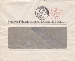 Brief ( Helvetia P20P 660)  Rheinfelden. Brauerei Feldschlösschen Rheinfelden ( Schweiz ) - Affranchissements Mécaniques