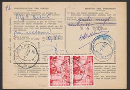 """N°1139 Sur Bulletin De Poste Obl SC """"Etterbeek"""" (1960) + Griffe Et Cachet Bleu """"Postes-Rebuts Belgique"""". - Documentos Del Correo"""