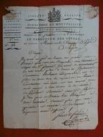 LETTRE AN 8 MARQUE MONTPELLIER A AGDE DU FORT BRESCOU LE DIRECTEUR DES VIVRES - Marcophilie (Lettres)