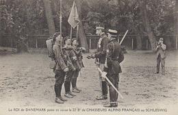 """22éme B; De Chasseurs Alpins   """" Roi Du Danemark Passant La Revue Au SCHLESWIG """" - Regimenten"""