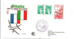 ITALIE 1 ER VOL AIRBUS ALITALIA ROME-PARIS-ROME 1980 - Vliegtuigen