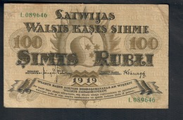 Lettonia Latvia  1919  100 RUBLI Pick#7 Lotto 2744 - Letland