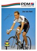 CARTE CYCLISME JOS VAN AERT SIGNEE IMPRESO EN LA CARTE TEAM PDM 1990 - Radsport