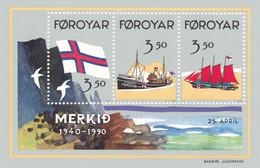 1990,  Färöer, 200/02 Block 4,  50 Jahre Flagge Der Färöer-Inseln. MNH **, - Faroe Islands