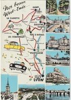Rhône :      Beaujolais, Lyon , Villefranche , Les Echarmeaux , Cluny , Carte  Géographique - France