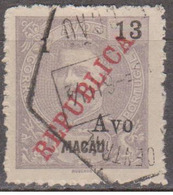 MACAU -1913, D. Carlos I,  Com Sobretaxa, «REPUBLICA» Local, 1 S/ 13 A.   D. 11  1/2   (o)  Afinsa  Nº 201 - Usati