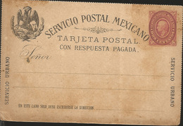 J) 1888 MEXICO, MEXICAN POSTAL SERVICE, EAGLE, URBAN SERVICE, POSTCARD WITH PAID RESPONSE, POSTAL STATIONARY - Mexico
