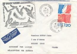 """Griffe """" GROUPE """" AURORE"""" FORBIN JEANNE D'ARC 1975-76 """" Sur Lettre Avion Obl PORTE HELICOPTERE - Via DURBAN Afrique - Posta Marittima"""