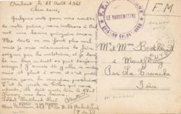 """Cachet """" FFI AUVERGNE AVIATION AULNAT NORD """" Puy De Dôme Sur CP FM > Montfleury Isère - Marcophilie (Lettres)"""