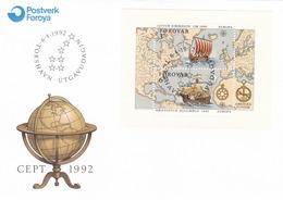 1992, Färöer, 233/34 Block 5  FDC, Europa: 500. Jahrestag Der Entdeckung Von Amerika. - Faroe Islands
