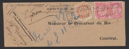 """Affranch. Mixte (n°58 X2 + TG9) Sur Fragment De Lettre En Expres Obl Chemin De Fer """"Herseaux"""" (1902) Vers Courtrai. TB - Télégraphes"""