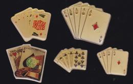 59701-lot De 5  Pin's.cartes à Jouer.poker.belote.ramy. - Jeux