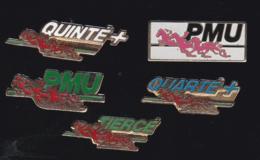 59704-lot De 5  Pin's.PMU.hippisme.cheval.jeux.. - Jeux