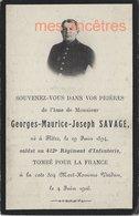 Guerre 1914-mort  Pour La France En 1916 Né Flètre (59)  Et  Mort Verdun Cote 304-Georges SAVAGE 412e R - Décès