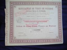 """Action""""Manufacture De Tissus De Picardie""""Bohain (Aisne) 1890.Textile - Textile"""