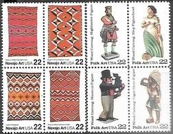 US  1986   Sc#2238a Art Rugs Block, #2243a  22c Wood Carved Figurines Block  MNH   Face $1.76 - Estados Unidos