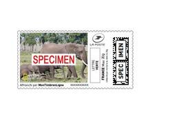 """Montimbrenligne SPECIMEN Lettre Verte 20 Gr """"éléphant"""" National Géographic - Elephants"""