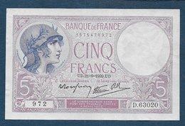 Billet 5 F  Violet  Du 21 - 9 - 1939 - 1871-1952 Antiguos Francos Circulantes En El XX Siglo