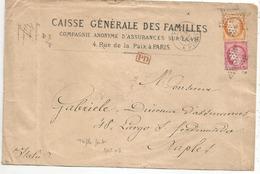 """SEINE - PARIS - Etoile N°8 S/mixte N°38 + 57 + """"PD"""" Rouge + Càd T.17  - 1873 - 1871-1875 Ceres"""