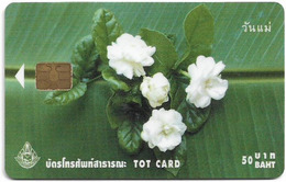 Thailand - TOT (Chip) - Jasmine Flowers - Exp. 11.2003, 50฿, Used - Thailand