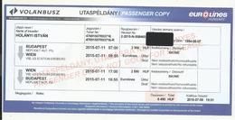 Hungary,Volanbusz Coach Ticket Budapest-Wien- Budapest, 2015. - Bus