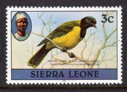 SIERRA LEONE - 1982 3c WESTERN BLACK-HEADED ORIOLE BIRD STAMP WITH IMPRINT DATE FINE MNH ** SG 624B - Sierra Leone (1961-...)