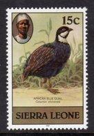 SIERRA LEONE - 1981 15c BLUE QUAIL BIRD STAMP WITH IMPRINT DATE FINE MNH ** SG 628B - Sierra Leone (1961-...)