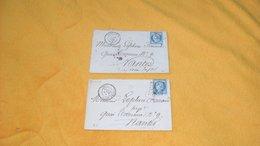 LOT DE 2 ENVELOPPES ANCIENNES  DE 1873 & 1874../ PONT AVEN POUR NANTES...CACHETS + OBLITERATION DONT GC 2927 + TIMBRE - Postmark Collection (Covers)