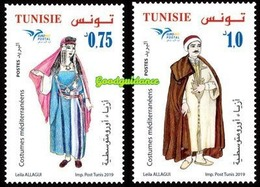 2019- Tunisie- Euromed- Costumes Méditerranéens- Emission Complete - Set 2 V.MNH** - Tunesië (1956-...)