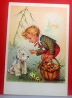 MARIAPIA Illustr.  Bambino Con Cane   Riproduzione CARTOLINA Non Viaggiata - Künstlerkarten