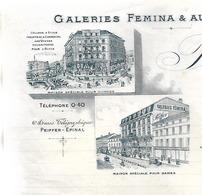 Lettre 1920 / Photo Magasins / 88 EPINAL / PEIFFER / Galeries Fémina & Au Printemps / Maison De Tissus Et Costumes - 1900 – 1949