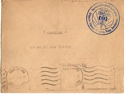 """1943 - LSC Cachet Bleu """"Francisque"""" SECRETARIAT Gal DE LA JEUNESSE - Délégation Auvergne - Oorlog 1939-45"""