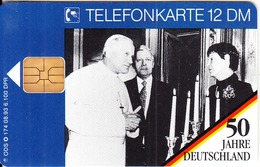 GERMANY - 50 Jahre Deutschland/Papst Johannes Paul II.(1)(O 174), Tirage 6100, 08/93, Mint - O-Series: Kundenserie Vom Sammlerservice Ausgeschlossen