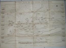 Carte Nouveau Plan De Nantes Monumental - Gravé Par H. Rollet Paris, Edité Par Th. Veloppé Libraire éditeur à Nantes - Cartes Géographiques