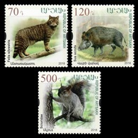 Armenia (Nagorno-Karabakh) 2018 Mih. 173/75 Fauna. European Wildcat. Wild Boar. Squirrel MNH ** - Armenia