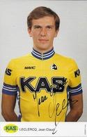 CARTE CYCLISME JEAN CLAUDE LECLERCQ SIGNEE TEAM KAS 1986 - Cyclisme