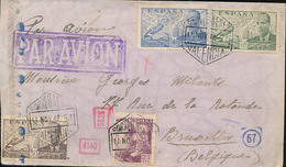 SPAIN WWII CENSORED AIR COVER FROM VALENCIA TO BRUSSELS 11.11.42 - 1931-Hoy: 2ª República - ... Juan Carlos I