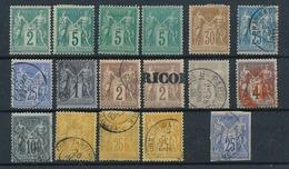 """DB-141: FRANCE:lot Avec """"SAGE""""*/NSG /obl (75*(2)-80*) - 1876-1898 Sage (Type II)"""