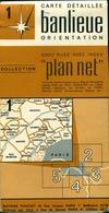 """4 Cartes Routières Collection """" Plan Net """" Banlieue De Paris N°1/2/4/5 - Cartes Routières"""