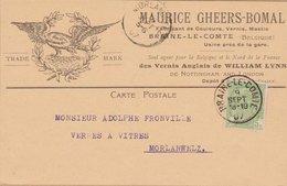 CARTE TIMBRE  1907 BRAINE LE COMTE  A MORLANWELZ VOIR PHOTOS - Autres