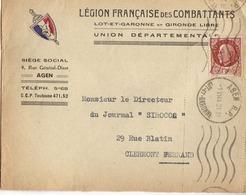1944 - LSC Avec Entête LEGION FRANCAISE Des COMBATTANTS - UNION DEPARTEMENTALE AGEN - Oorlog 1939-45