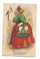 Illustration  Pas  Signée  De   Cigogne  Et  Sage- Femme - Humour